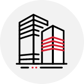 High rise building icon with louvers