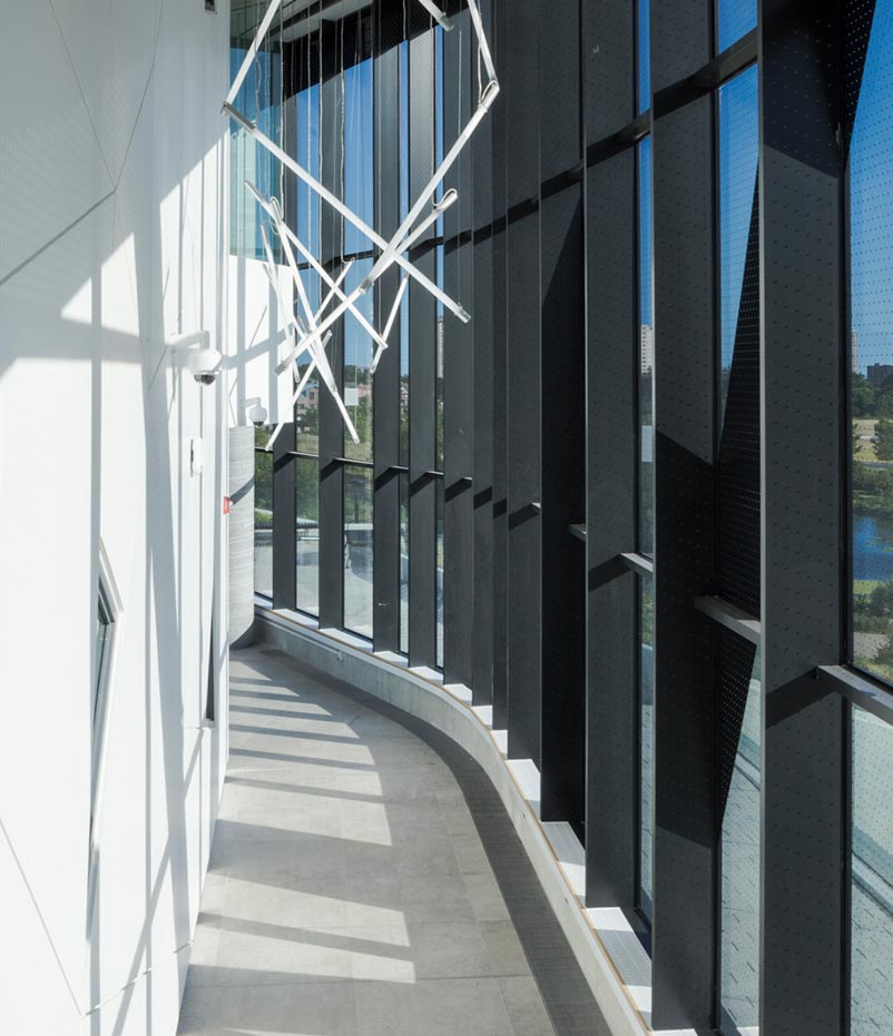 Facade system view from inside the Bergeron Centre