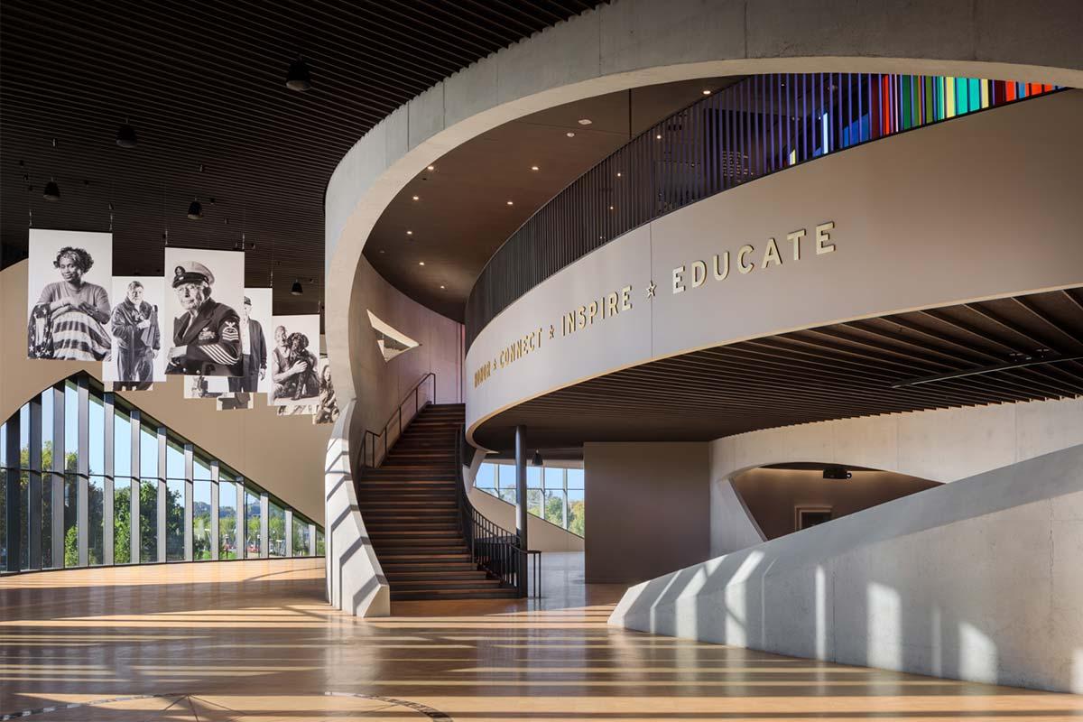 Intricate design work inside the veteran memorial and museum